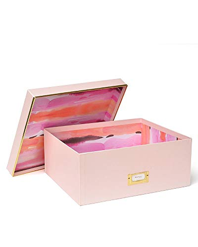 Roobee Large Storage Box - Light Pink Watercolor & Gold Foil]()