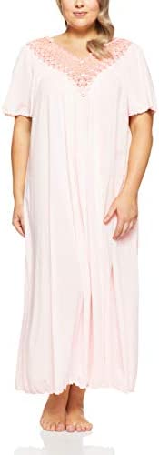 Shadowline Womens Plus Size Beloved 53 Inch Flutter Sleeve Long Gown Nightgown