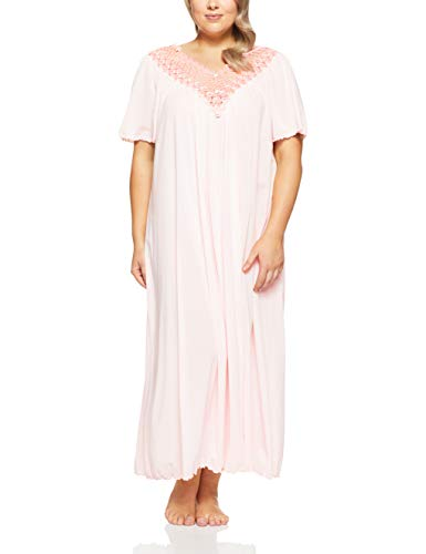 Shadowline Women's Plus Size Beloved 53 Inch Flutter Sleeve Long Gown, Pink, 3X