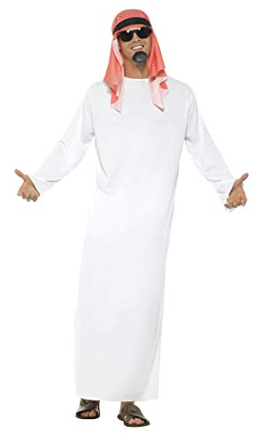 Smiffy's Men's Fake Sheikh Arab Costume with Long Tunic and Headdress, White - Medium -