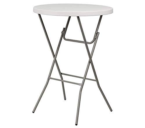 Office Home Furniture Premium 32'' Round Granite White Plastic Bar Height Folding Table