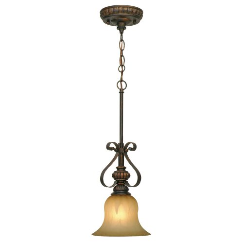 (Golden Lighting 7116M1LLC Pendant with Creme Brulee Glass Shades, Leather Crackle Finish)
