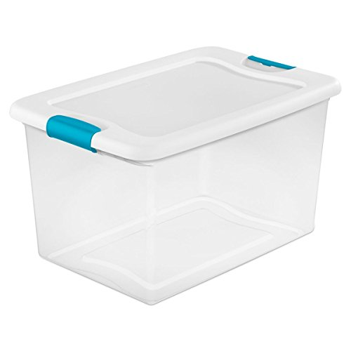 Sterilite 14978006  64 quart/61 L Latching Box with Clear Base, White Lid and Colored Latches, 6-Pack]()