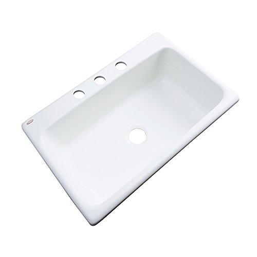 Dekor Sinks 58300 Brookwood Single Bowl Cast Acrylic Kitchen Sink-3 Hole, 33