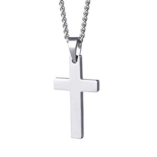 Linuo Mens Womens Simple Cross Pendant Stainless Steel Titanium Necklace - Plain Cross Necklace