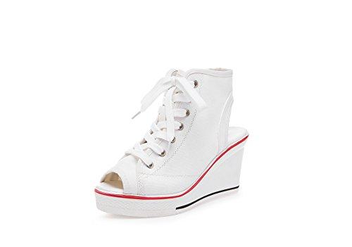 tamaño de tacón Gruesos Mujeres de Color Blanco Blanco Botines de Novedad de Toe Las para 37 Deporte Las Negro de de Zapatos Botines del señoras la Zapatillas Peep Resorte Lona UfqIO
