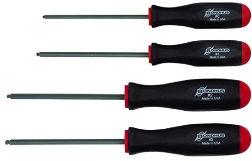 Bondhus 11640 Set of 4 Square Recess Screwdrivers, sizes #0-3