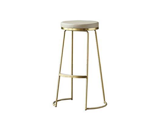 (Iron Art Bar Chair- Northern Europe Style Golden PU Bar Stool Cafe Restaurant Front Bench High Stool Individual Casual Decorative Stool JINRONG (Color : A, Size : 75CM))