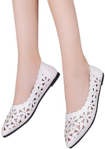 YJYdada Women Shallow Flat Heel Hollow Out Flower Shape Nude Shoes Pointed-toe Shoes (38, White)