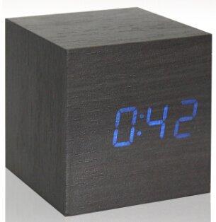 Cubo de madera LED de alarma del reloj Despertador Temperatura Los sólidos del control LED mostrar electrónica de sobremesa Relojes digitales Calendario ...