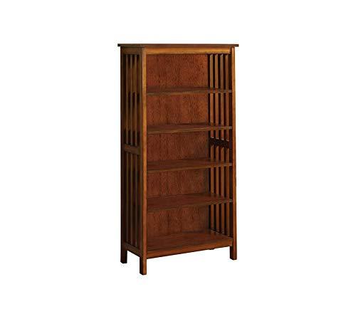 Deluxe Premium Collection Mission Style 5-Shelf Bookcase Antique Oak Finish Decor Comfy Living Furniture