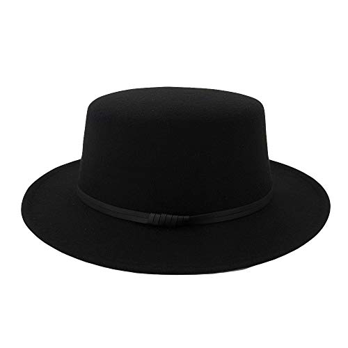 TANGSen Unisex Wide Brim Wool Belt Felt Flat Top Solid Fedora Hat Party Church Trilby Hats Outdoor Casual Cap Black