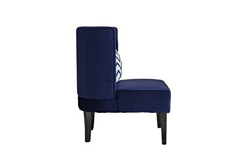 Accent Chair for Living Room, Upholstered Armless Velvet Chairs with Back Cushion and Natural Wooden Legs (Navy) by Divano Roma Furniture (Image #3)
