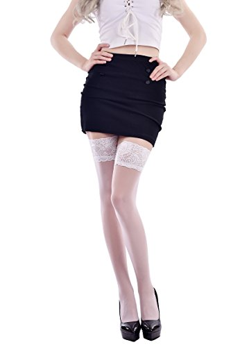 Purcii Women Thigh High Sheer Stockings Elastic Lace Tights with Skid Silicone (White) (Lace Thigh High Tights)