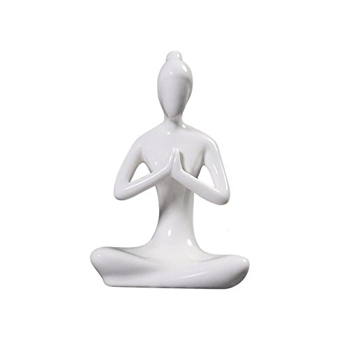 Toonol Abstract Art Ceramic Yoga Poses Figurine Porcelain Yoga Lady Statue Different Poses Home Yoga Studio Decor Ornament,#2 by Toonol