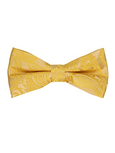 Mens Paisley Pre Tied Bow Tie   Honey Gold