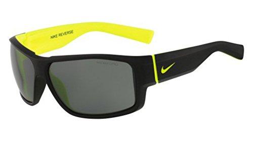 (Nike Grey Lens Reverse Sunglasses, Matte Black/Volt)