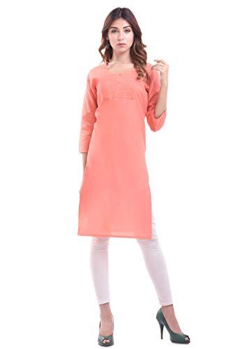 Indian Women's Plain Cotton Kurti Red Top By Chichi