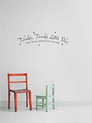Decal - Vinyl Wall Sticker : Twinkle Twinkle Little Star Now We All Know Who You Are! Newborn Boy Girl Nursery Life Celebration Quote Children Kid Living Room Bedroom Kitchen Home Decor Picture Art Image Peel & Stick Graphic Mural Design Decoration - Disc