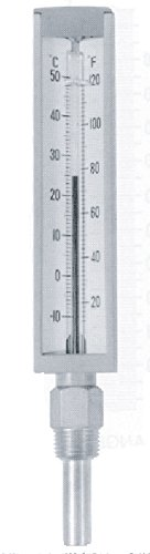 Miljoco S531A Contractor's Thermometer, Brass Wetted Parts, -40-110 F/-40-40 C Range, +/-1 F Accuracy, 1/2'' NPT Angled Connection