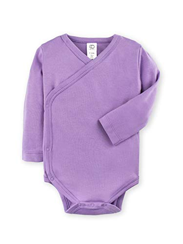 Colored Organics Baby Organic Cotton Kimono Bodysuit - Long Sleeve Infant Side Snap Onesie - Newborn 0-3 Months - Purple ()