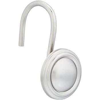 AmazonBasics Shower Curtain Hooks - Roped Button Hooks, Nickel