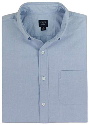 J. Crew Men's Slim Fit Flex Oxford Shirt (Large, Shoreline Blue)