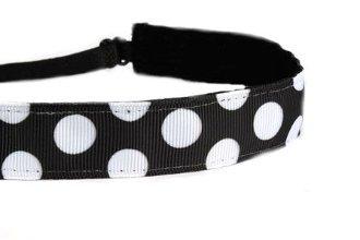Mavi Bandz Adjustable Non-Slip Fitness Headbands Polka Dots - Black and White