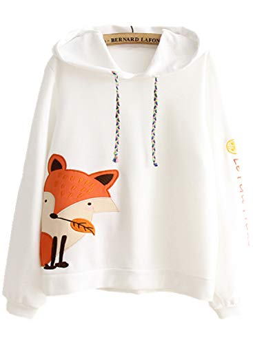 XVOVX Young Lady Girl Narwhal Unicorn Thin Cotton Long Sleeve Pullover Hoodie Jacket with Drawstrings (Free Size, White - Youth Sweatshirt Fox