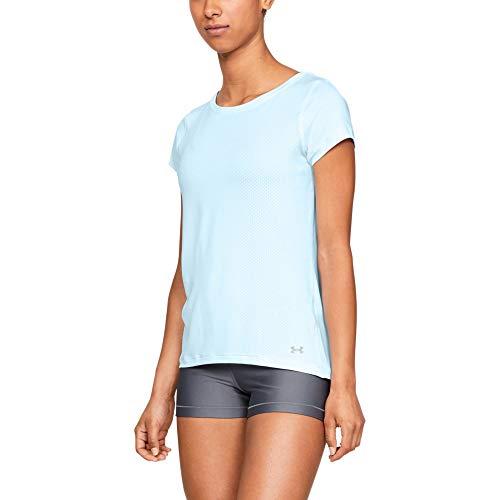 Under Armour Women's HeatGear Armour Short Sleeve Shirt, Code Blue//Metallic Silver, Small