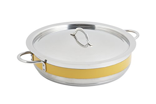 Bon Chef 60030CFYellow Stainless Steel Induction Bottom Classic Country French Pot with Cover, 6 quart Capacity, 12-3/8'' Diameter x 3'' Height, Yellow by Bon Chef