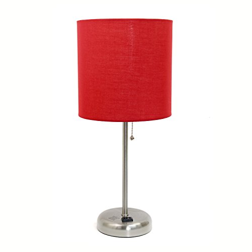 Limelights LT2024-RED Stick Brushed Steel Lamp with Charging Outlet and Fabric Shade, 19.50 x 8.50 x 8.50 inches, Red (Table Kids Bedside Lamp)