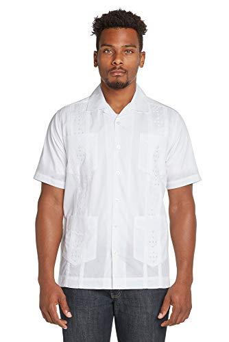 (9 Crowns Men's Modern Fit Short Sleeve Guayabera Button Down Shirt-White-Small)
