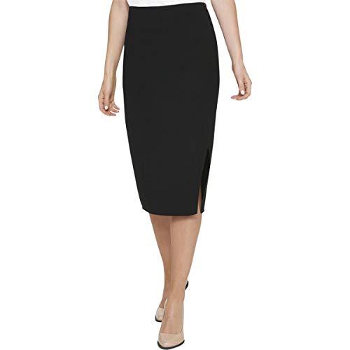DKNY Womens Crossover Front Midi Pencil Skirt Black 2 Dkny Jeans Womens Skirt