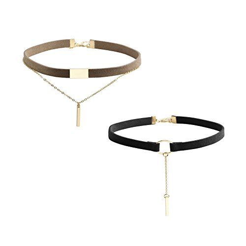 Milakoo Bar Pendant Choker Necklace for Women Girls Double Layer Choker Black and Brown 2 Pcs