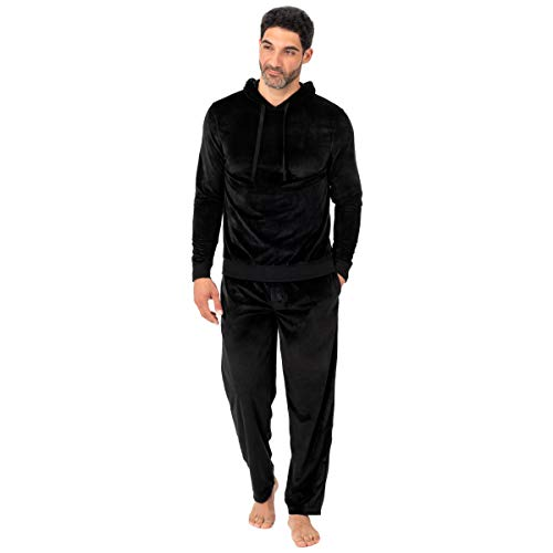 (Jockey Men's Velour Pullover Hoodie Top, Black X-Large)