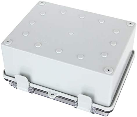 """31VjXbz5BbL. AC Junction Box ABS Plastic Dustproof Waterproof Electrical Enclosure Box Hinged Shell Outdoor Universal Project Enclosure Grey with PC Clear Transparent Cover 8.7 x 4.7 x 2.2 inch (220x170x110mm)    Specifications : Outer Size (approx.): 8"""" x 4.7"""" x 2.2"""" (200mmx120mmx56mm)(L*W*H)  Inner size (approx.):7.6"""" x 4.5"""" x 2.0"""" (194mmx114mmx49mm) (L*W*H)  Thickness: 0.16''/4mm Screw Thread Dia.: 4mm/0.16""""【Durable Material】Junction boxes, perfect for use outdoors, made of ABS, durable for use, and easy to install.【Product Size】Outer Size of electrical enclosure (approx.): 8"""" x 4.7"""" x 2.2"""" (200x120x56mm);Inner size of electrical enclosure (approx.): 7.6"""" x 4.5"""" x 2.0"""" (194x114x49mm)(L*W*H) ; Thickness: 0.16''/4mm; Screw Thread Dia.: 4mm/0.16"""".【Easy to operate】: Junction box is easy to install, Hinged enclosure makes the opening and closing easier; Come with transparent cover, the inner project of junction box can be more visible.【Specifications】Waterproof Ingress Protection Rating is IP65, moisture-proof, sunscreen, anti-corrosion, durable for years use.【Application】Suitable for indoor and outdoor electrical, communications, fire equipment, steel smelting, oil chemical industry, electronics, electric power, railway, construction site, mining, quarry, airport, hotel, ships, large factories, terminal equipment, sewage discharge wastewater, environmental hazards, etc."""