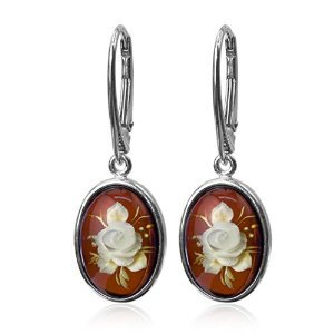 Amber Sterling Silver Cameo Oval Leverback Small Flower Earrings by Ian & Valeri Co.