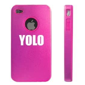 Apple iPhone 4 4S 4 Hot Pink D2817 Aluminum & Silicone Case Cover YOLO