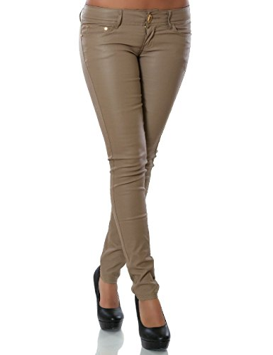 Damen Kunstlederhose Skinny (Röhre) No 12927, Größe:36;Farbe:Khaki