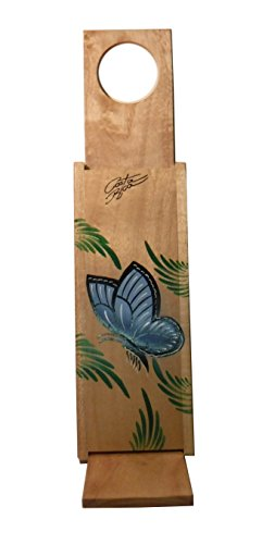 Chorreador,Costa Rican Handmade Portable Foldable Wooden Stand Coffee Maker,Included:1 Large Reusable Cloth Filter(Bolsa de Chorrear Cafe),Model:Blue Morpho Butterfly, Color:Light, Wood: Gmelina by Love Gourmet Coffee (Image #1)