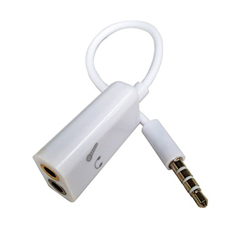 Conwork 3.5mm 4 Position to 2x 3 Position 3.5mm Headset Splitter Adapter 1 Male to 2 Female Headphone Microphone Splitter - 4 pin / 4 pole For Apple iPhone iPad (White)