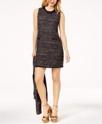 Rachel Zoe Womens Tweed Faux-Leather Trim Sheath Dress Navy 2 ()