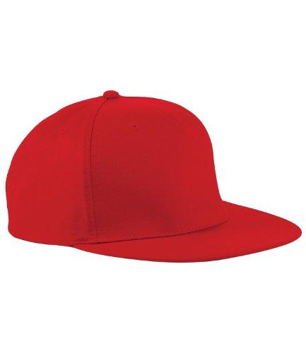 Beechfield - Gorra/Visera diseño Rapero/Rapper/Hip Hop/NBA 5 Paneles Modelo Retro classique Rouge