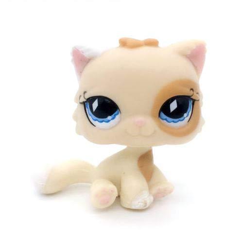 Littlest Pet Shop Cat Persian Cream and Tan Blue Diamond Eyes Kitty - Tan Cats Eye