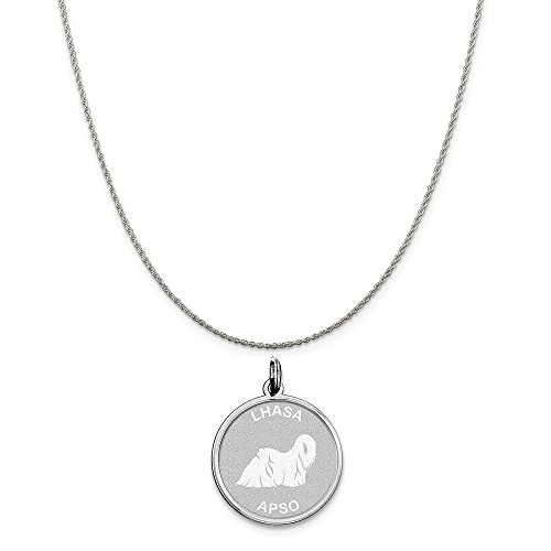- Mireval Sterling Silver Lhasa Apso Disc Charm on a Sterling Silver Rope Chain Necklace, 18