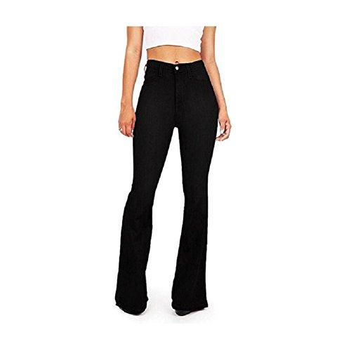 Grandi Donna Ampia Nero Vita Di Dimensioni Oudan Chic Alta Vestibilità Gambe Jeans Da Pantaloni Fluida A Lunghe xIqxEwza