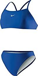 Nike Women\'s Poly Core Solid Sport Top 2PC Swimsuit (6, Royal)