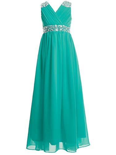 (FAIRY COUPLE Girl's Embellished V-Neck Long Flower Girl Dress for Wedding K0156 10)