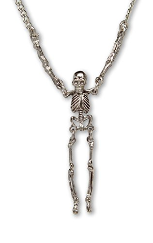Real Metal Gothic Skeleton with Moving Arms and Legs Silver Finish Pewter Pendant Necklace